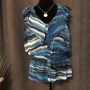Miss Tina Blue Patterned Button Front Top, Size XL